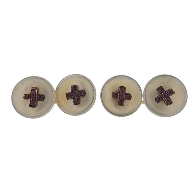 Antique French Gold Mother-of-Pearl Ruby Button Cufflinks
