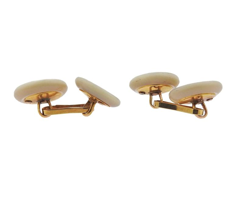 Antique French Gold Mother-of-Pearl Ruby Button Cufflinks In Excellent Condition For Sale In Boca Raton, FL