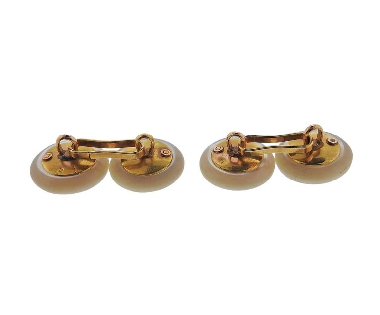 Men's Antique French Gold Mother-of-Pearl Ruby Button Cufflinks For Sale