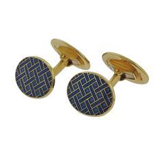 Verdura Blue Enamel Gold Oval Cufflinks