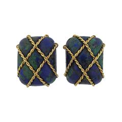 Seaman Schepps Gold Azurmalachite Cage Earrings