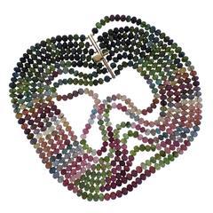 Carved Multi-Color Tourmaline Gold Necklace