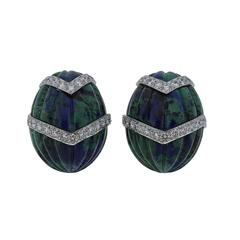 David Webb Gold Platinum Diamond Azurmalachite Earrings