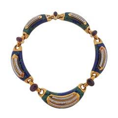 David Webb Impressive Azurmalachite Ruby Diamond Gold Platinum Necklace