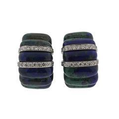 David Webb Azurmalachite Diamond Gold Platinum Earrings