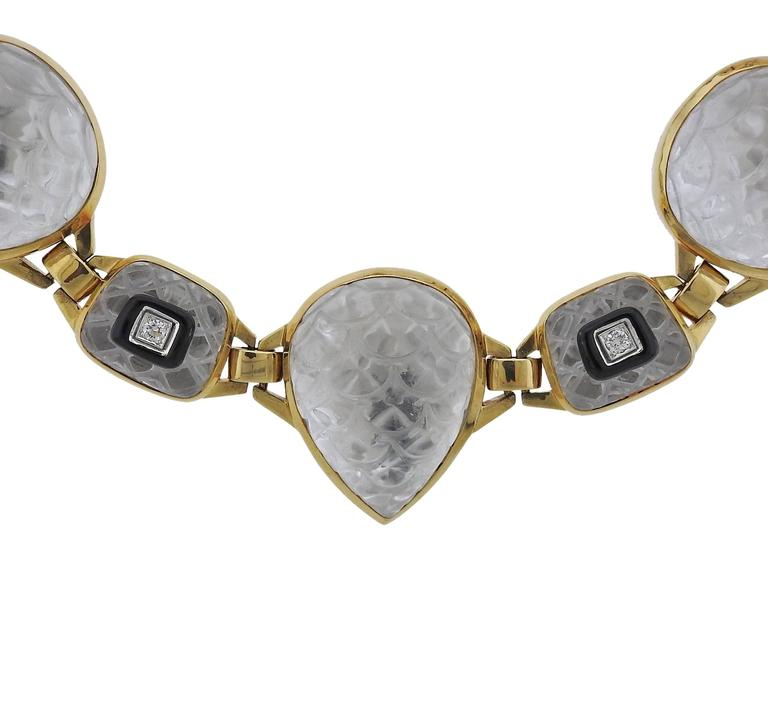 David Webb Impressive Rock Crystal Onyx Diamond Gold Platinum Necklace In Excellent Condition For Sale In Lahaska, PA