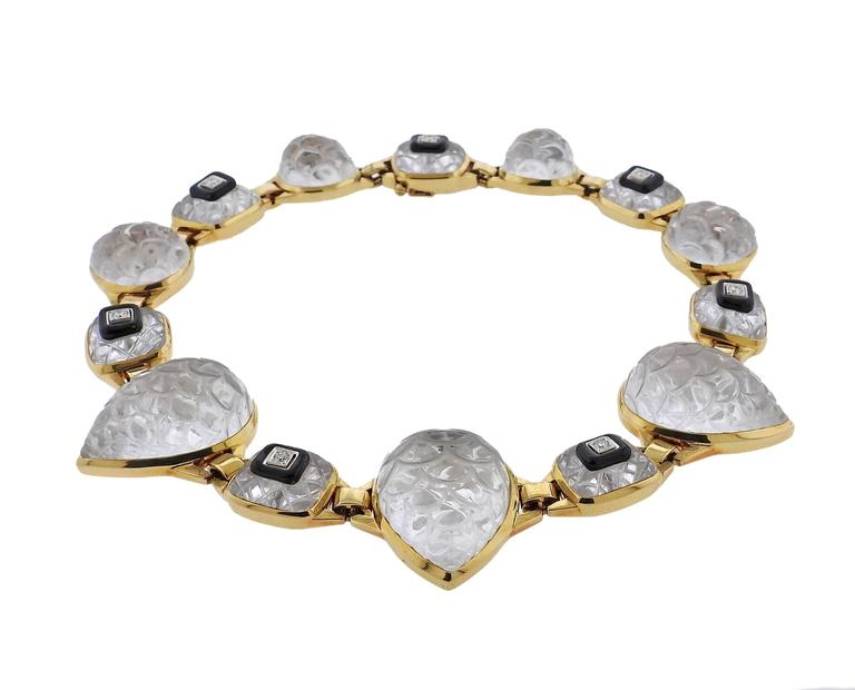 David Webb Impressive Rock Crystal Onyx Diamond Gold Platinum Necklace 2