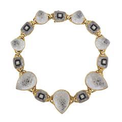 David Webb Impressive Rock Crystal Onyx Diamond Gold Platinum Necklace