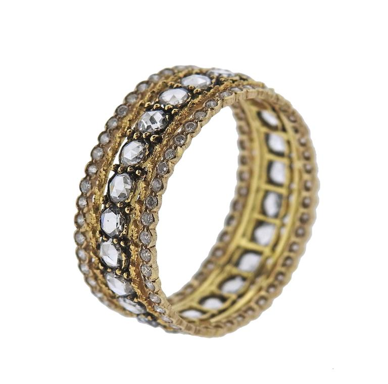 buccellati diamond gold wedding band ring for sale at 1stdibs