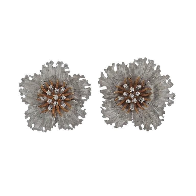 Buccellati Diamond Gold Flower Earrings