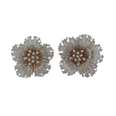 Buccellati Diamond Gold Flower Earrings