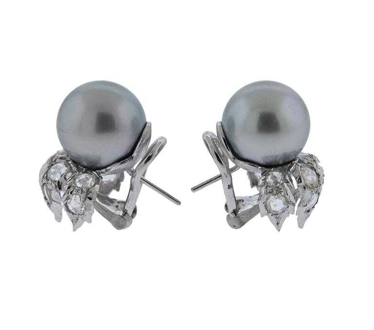 Buccellati South Sea Pearl Rose Cut Diamond Gold Earrings 3