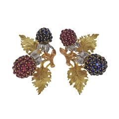 Buccellati Sapphire Ruby Gold Berry Earrings