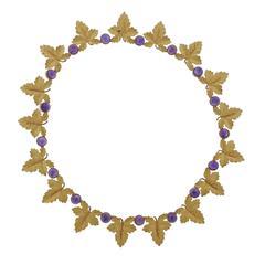 Buccellati Amethyst Gold Leaf Necklace