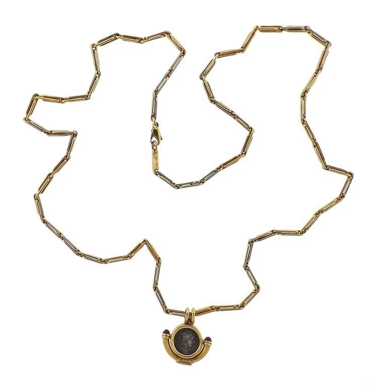 bulgari monete ruby gold ancient coin pendant necklace 3