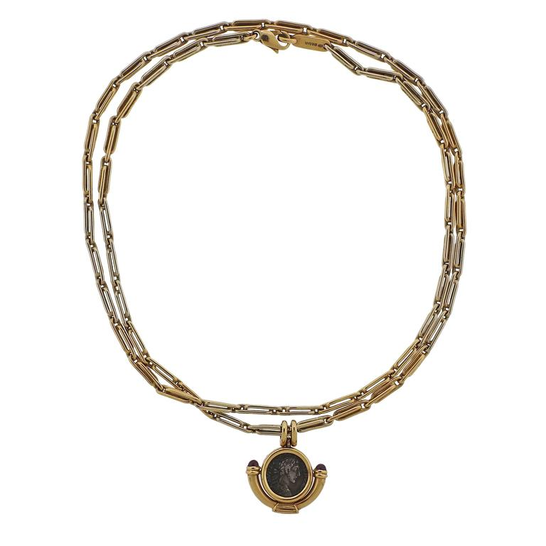Bulgari Monete Ruby Gold Ancient Coin Pendant Necklace