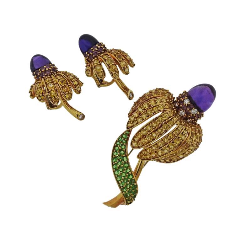 Tiffany & Co. Sapphire Amethyst Tsavorite Diamond  Earrings Brooch Set 1