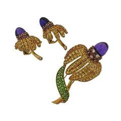 Tiffany & Co. Sapphire Amethyst Tsavorite Diamond  Earrings Brooch Set