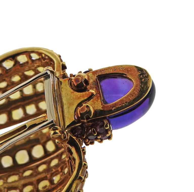 Tiffany & Co. Sapphire Amethyst Tsavorite Diamond  Earrings Brooch Set 8