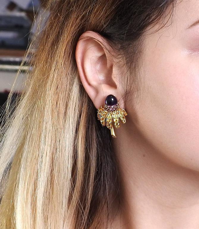 Tiffany & Co. Sapphire Amethyst Tsavorite Diamond  Earrings Brooch Set 9