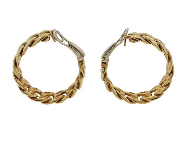 18k Gold Hop Earrings Crafted By Bulgari Featuring Curb Link Design Are