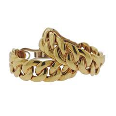 Bulgari Gold Curb Link Hoop Earrings