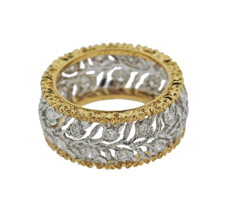buccellati eternelle gold diamond leaf wedding band ring 2 - Leaf Wedding Ring