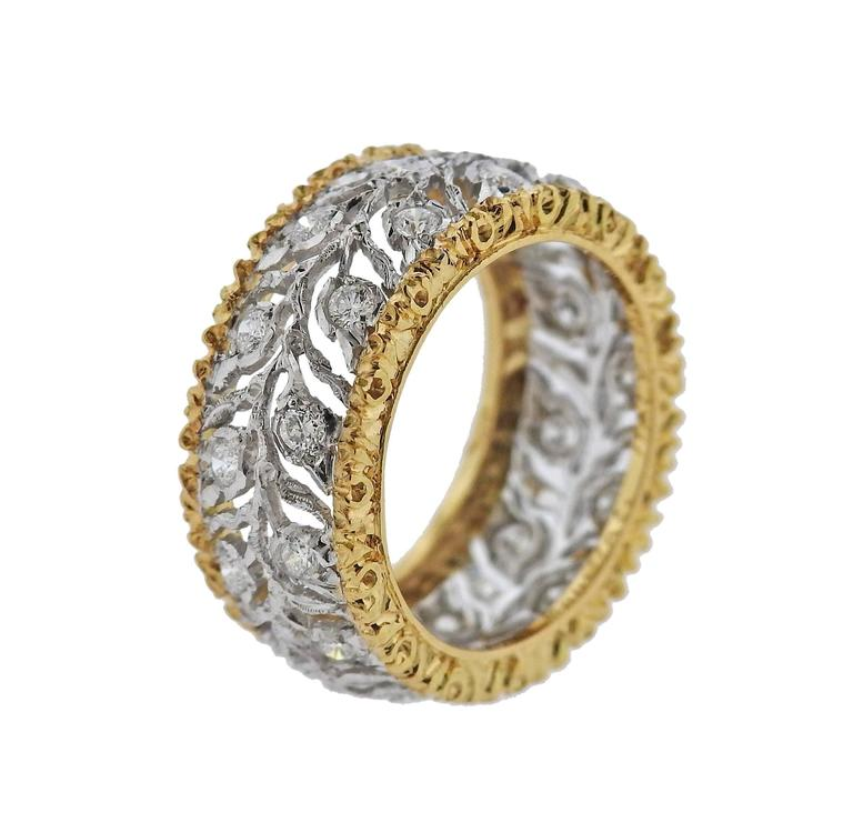 Buccellati Eternelle Gold Diamond Leaf Wedding Band Ring In New Condition For Sale In Boca Raton, FL
