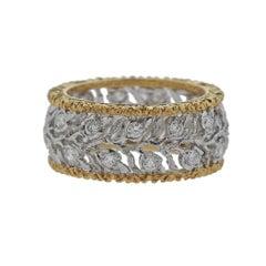 Buccellati Eternelle Gold Diamond Leaf Wedding Band Ring