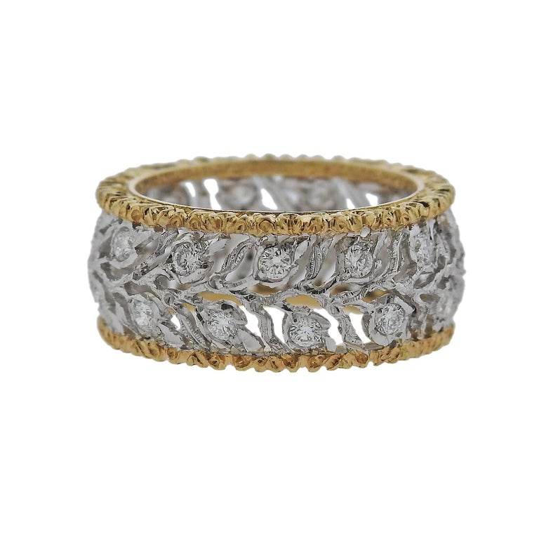 Buccellati Eternelle Gold Diamond Leaf Wedding Band Ring For Sale