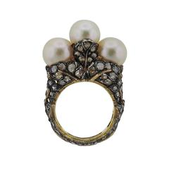 Buccellati Gold Silver Rose Cut Diamond Pearl Ring