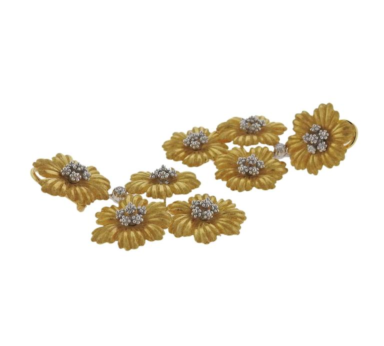 Buccellati Diamond Gold Flower Day Night Drop Earrings In New Condition For Sale In Lahaska, PA