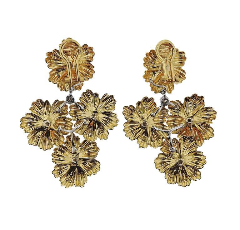 Women's Buccellati Diamond Gold Flower Day Night Drop Earrings For Sale