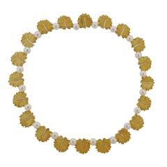 Buccellati Gold Pearl Leaf Necklace