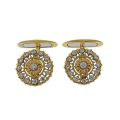Buccellati Diamond Gold Cufflinks