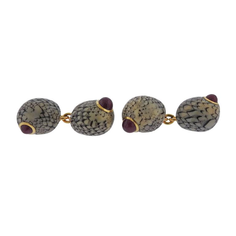 Trianon Gold Shell Ruby Cufflinks