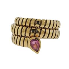 Bulgari Tubogas Pink Tourmaline Gold Wrap Ring