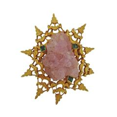 1970s Spritzer & Furman Gold Rose Quartz Emerald Brooch Pin