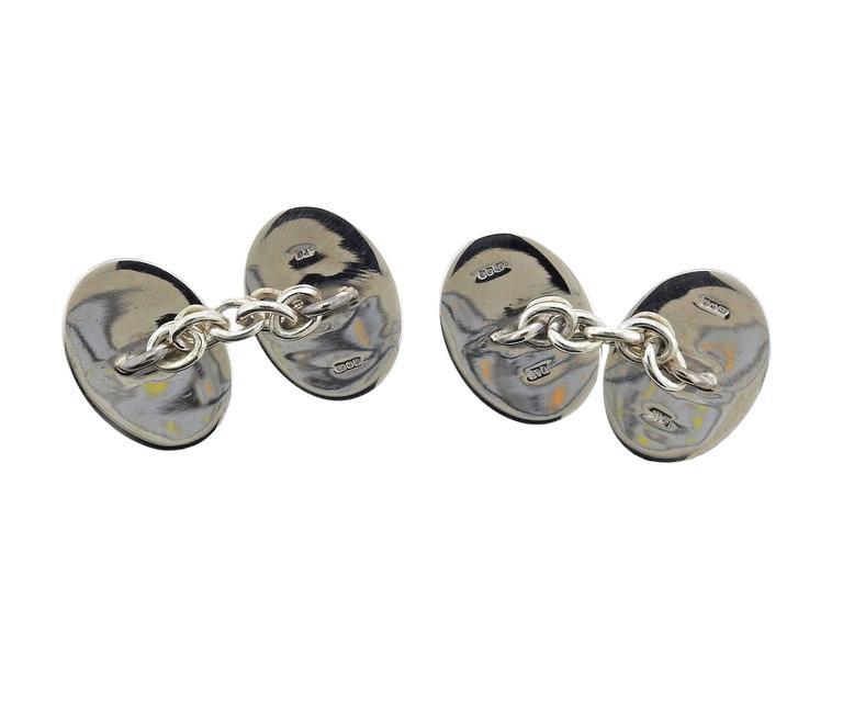 Men's Deakin & Francis Sterling Silver Enamel Rooster Cufflinks For Sale