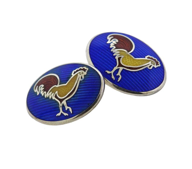 Deakin & Francis Sterling Silver Enamel Rooster Cufflinks In As new Condition For Sale In Lahaska, PA
