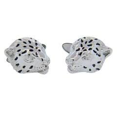 Carrera Y Carrera Bestiario Leopard Diamond Gold Cufflinks