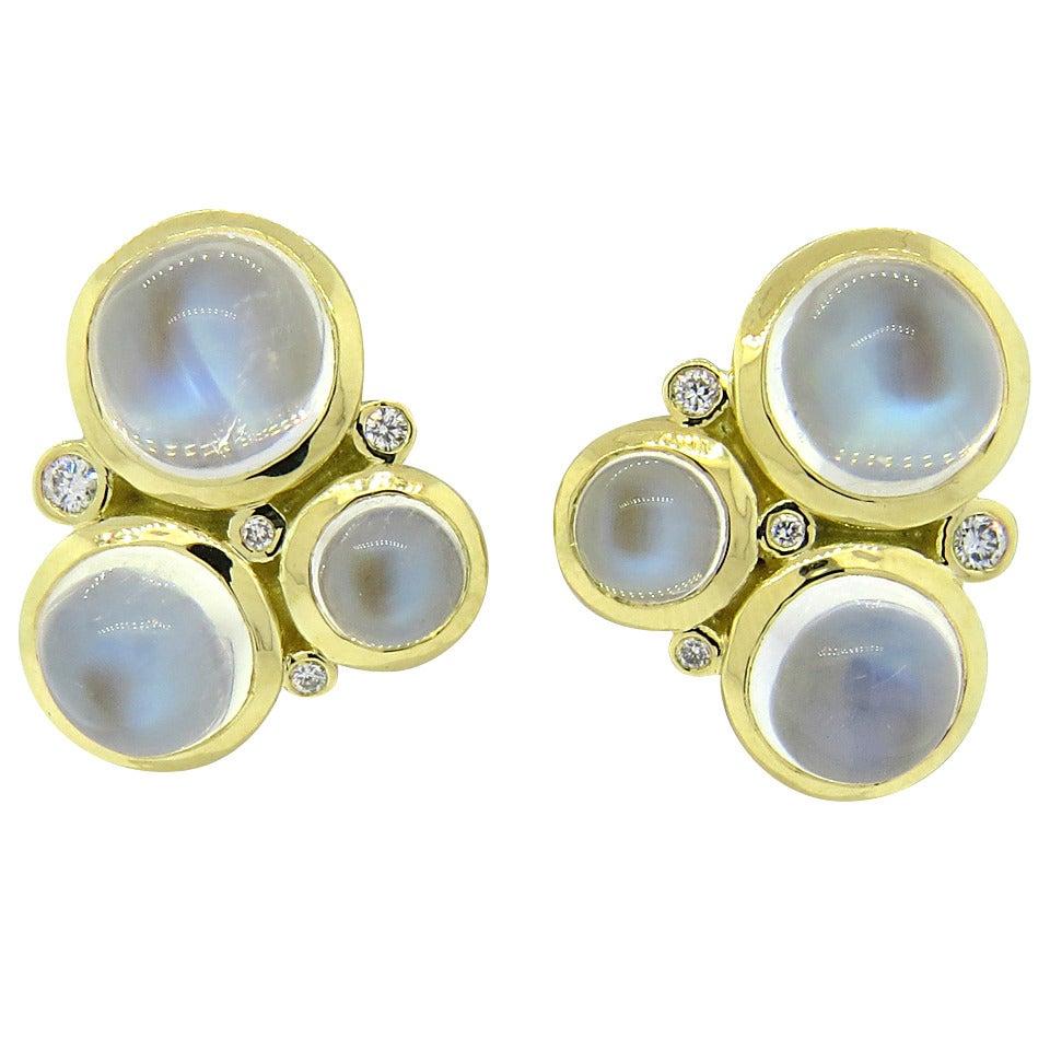 Temple St. Clair Trio Moonstone Diamond Gold Earrings