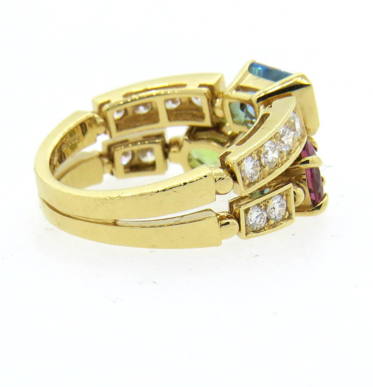 Bulgari Allegra Multicolor Gemstone Diamond Gold Ring 2