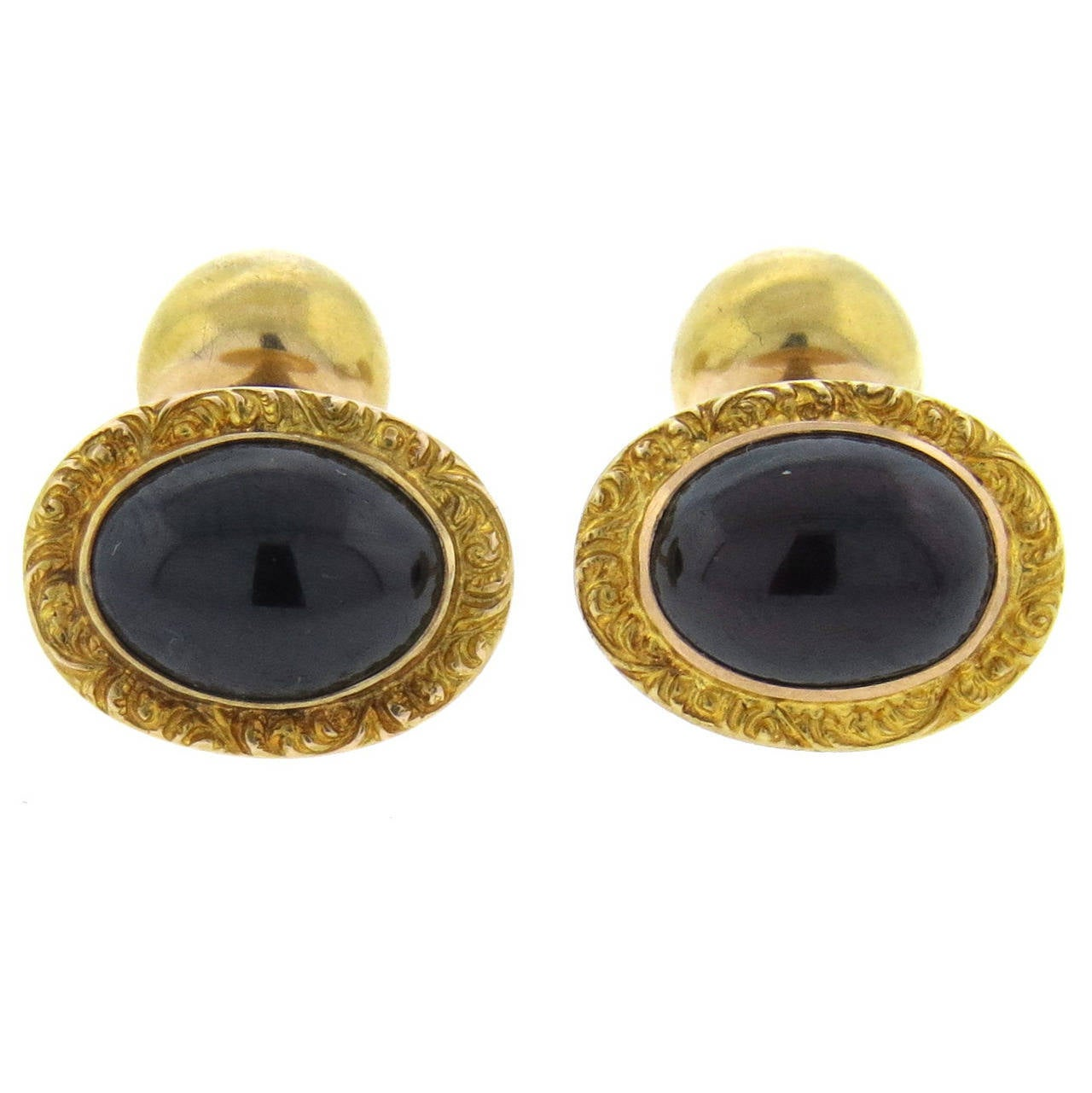 Antique Victorian Garnet Cabochon Gold Cufflinks