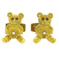 Ruby Diamond Gold Teddy Bear Cufflinks