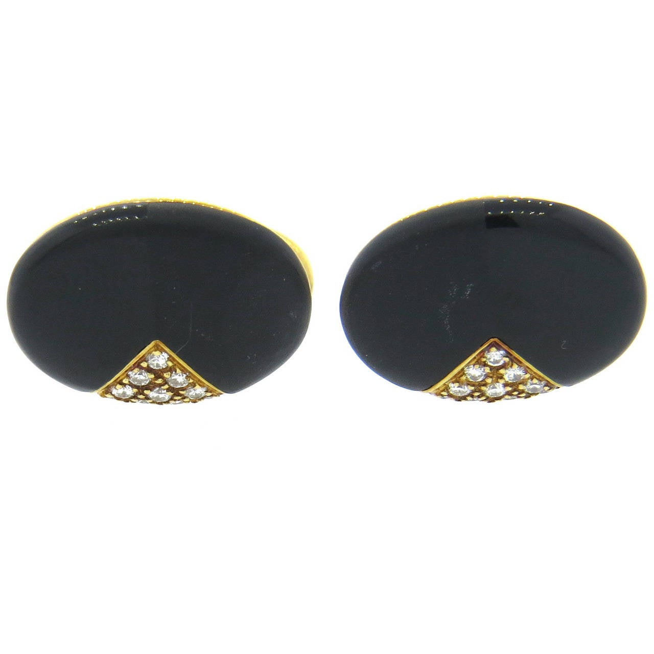 Onyx Diamond Hardstone Gold Cufflinks