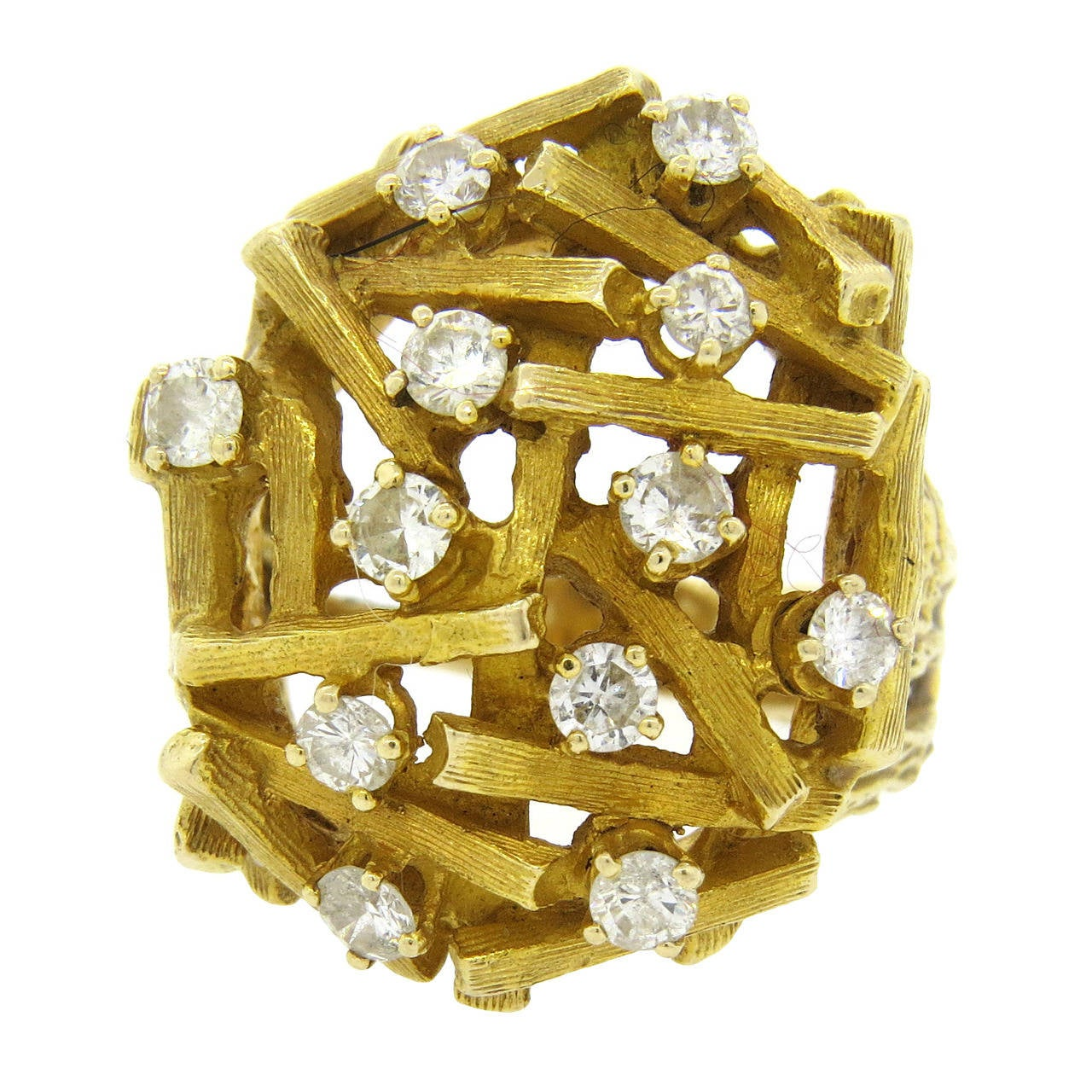 1970s Sticks and Stones Diamond Gold Dome Cocktail Ring