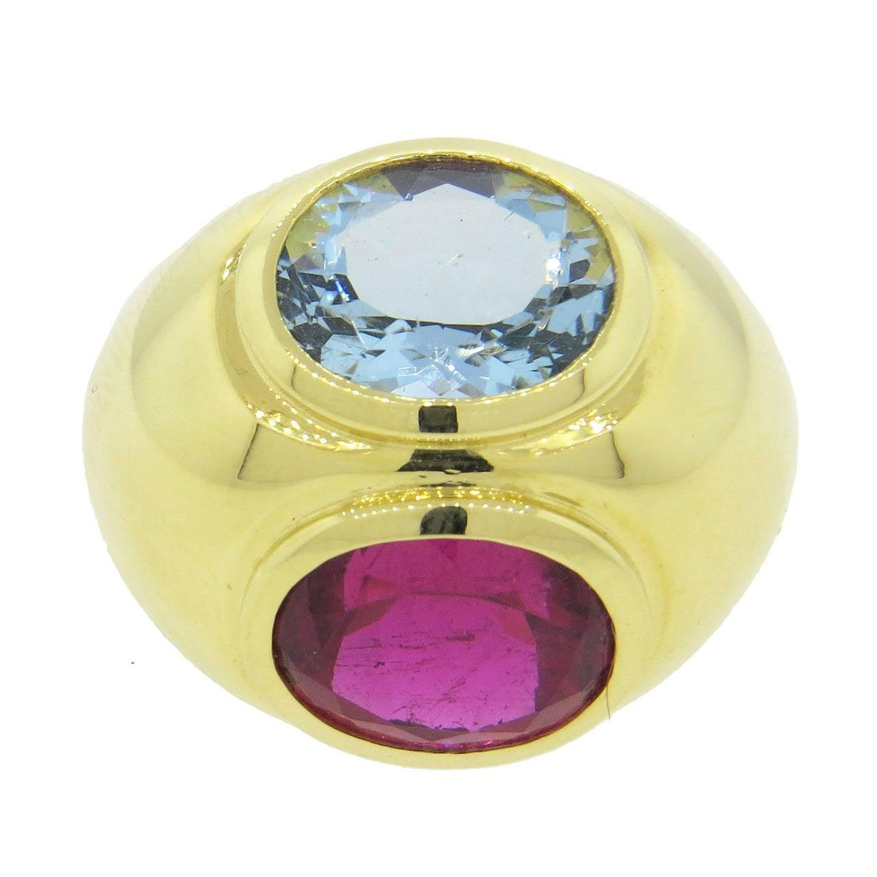 a62f37339 Tiffany & Co. Paloma Picasso Rubellite Tourmaline Aquamarine Gold Dome Ring  For Sale
