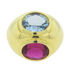 Tiffany & Co. Paloma Picasso Rubellite Tourmaline Aquamarine Gold Dome Ring