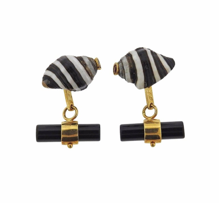Italian Gold Shell Onyx Ruby Cufflinks 4